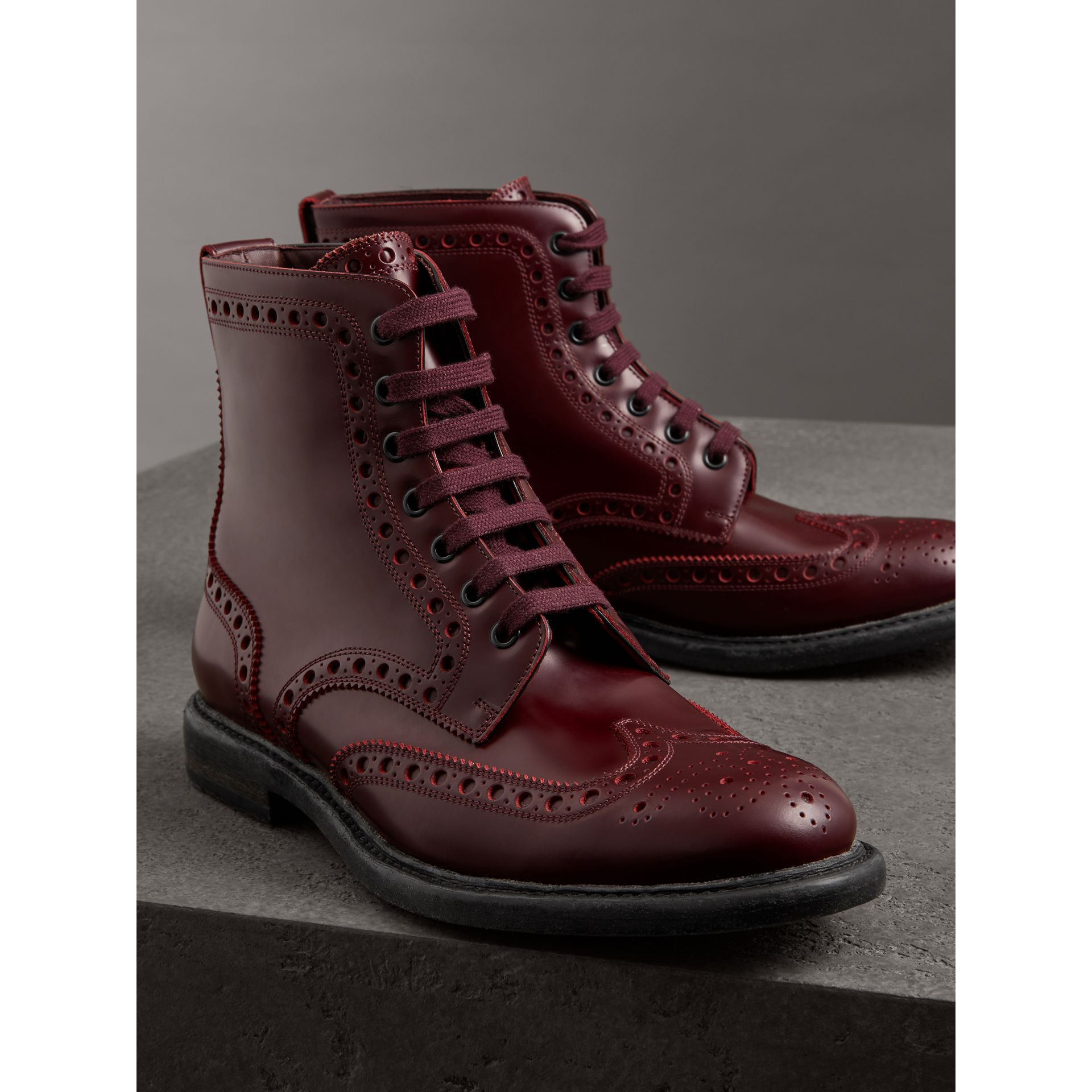 Brogue Detail Polished Leather Boots in Ebony Red - Men | Burberry - gallery image 4