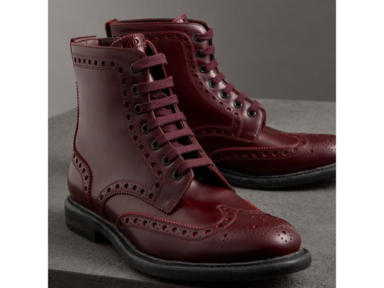 Brogue Detail Polished Leather Boots in Ebony Red - Men | Burberry - cell image 4
