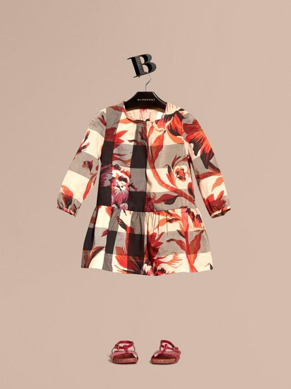 Kleid aus Baumwolle im Karodesign mit floralem Muster
