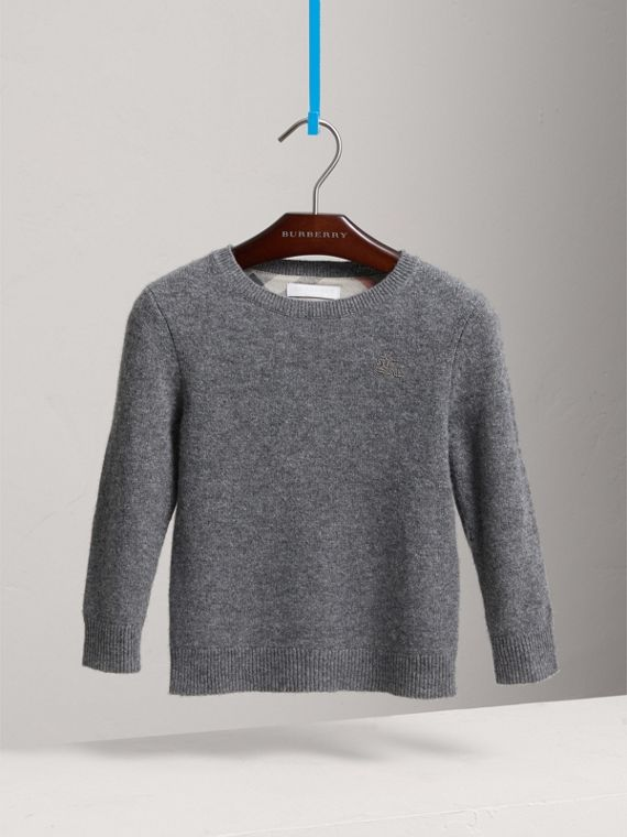 Check Elbow Patch Cashmere Sweater in Mid Grey Melange