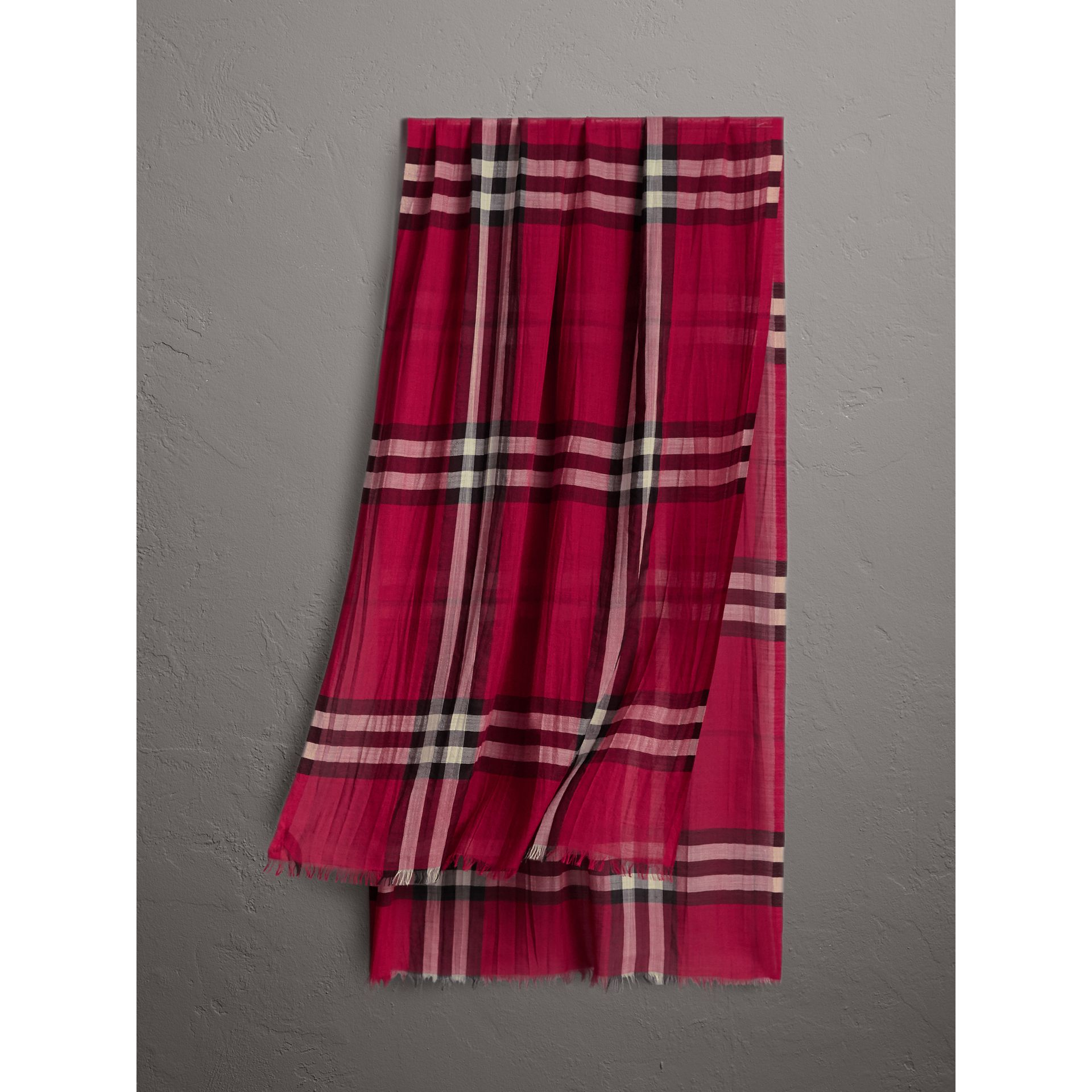 Lightweight Check Wool and Silk Scarf in Fuchsia Pink | Burberry - gallery image 1