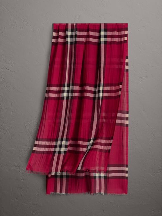 Cachecol leve de seda e lã com padrão xadrez (Rosa Fúcsia)