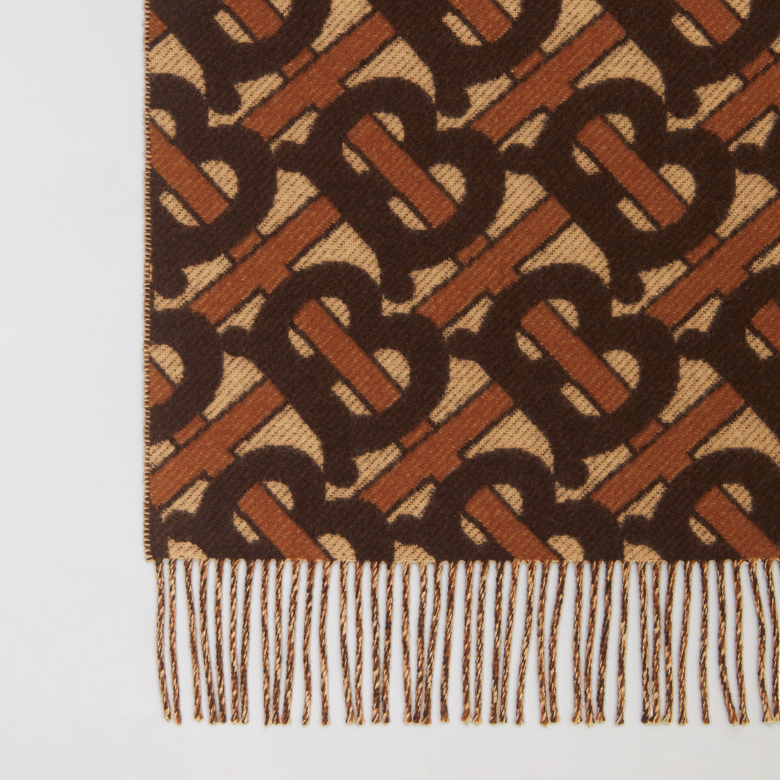 Monogram Merino Wool Cashmere Jacquard Blanket in Deep Brown | Burberry - 2