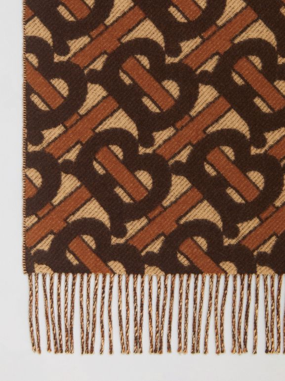 Monogram Merino Wool Cashmere Jacquard Blanket in Deep Brown | Burberry Hong Kong S.A.R - cell image 1