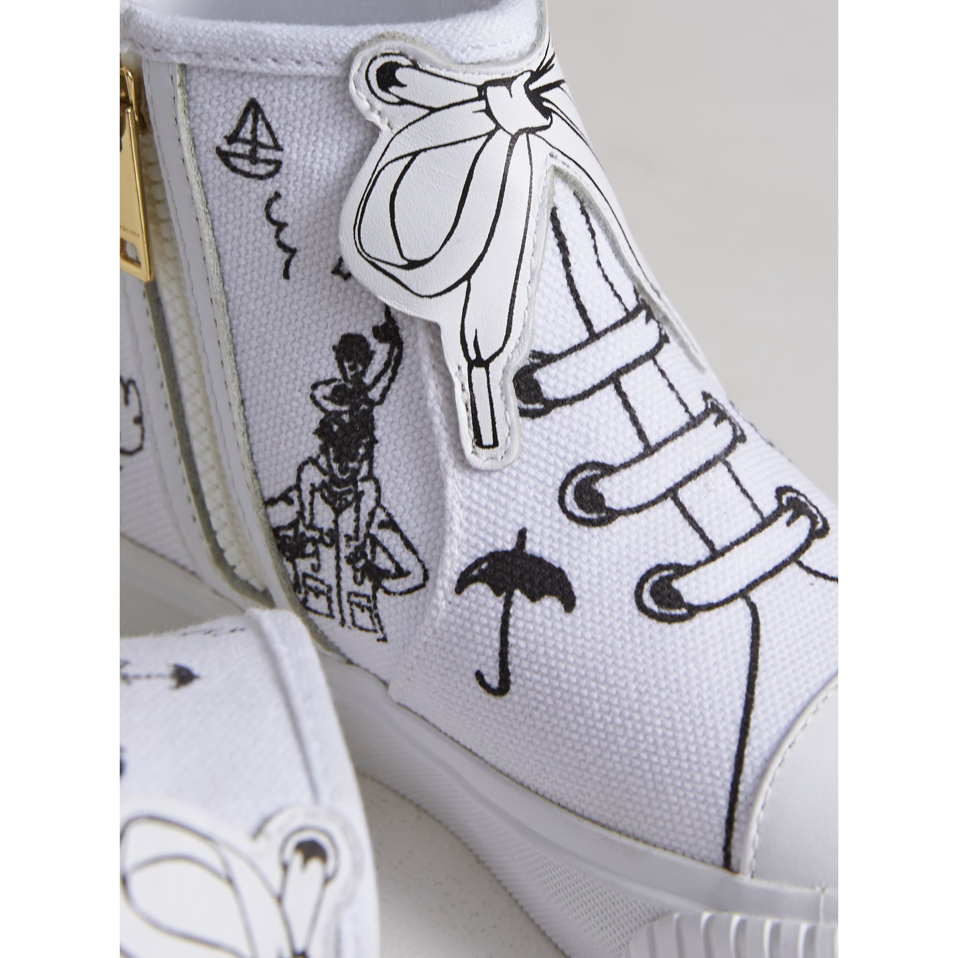 Doodle Print High-top Trainers | Burberry - gallery image 2