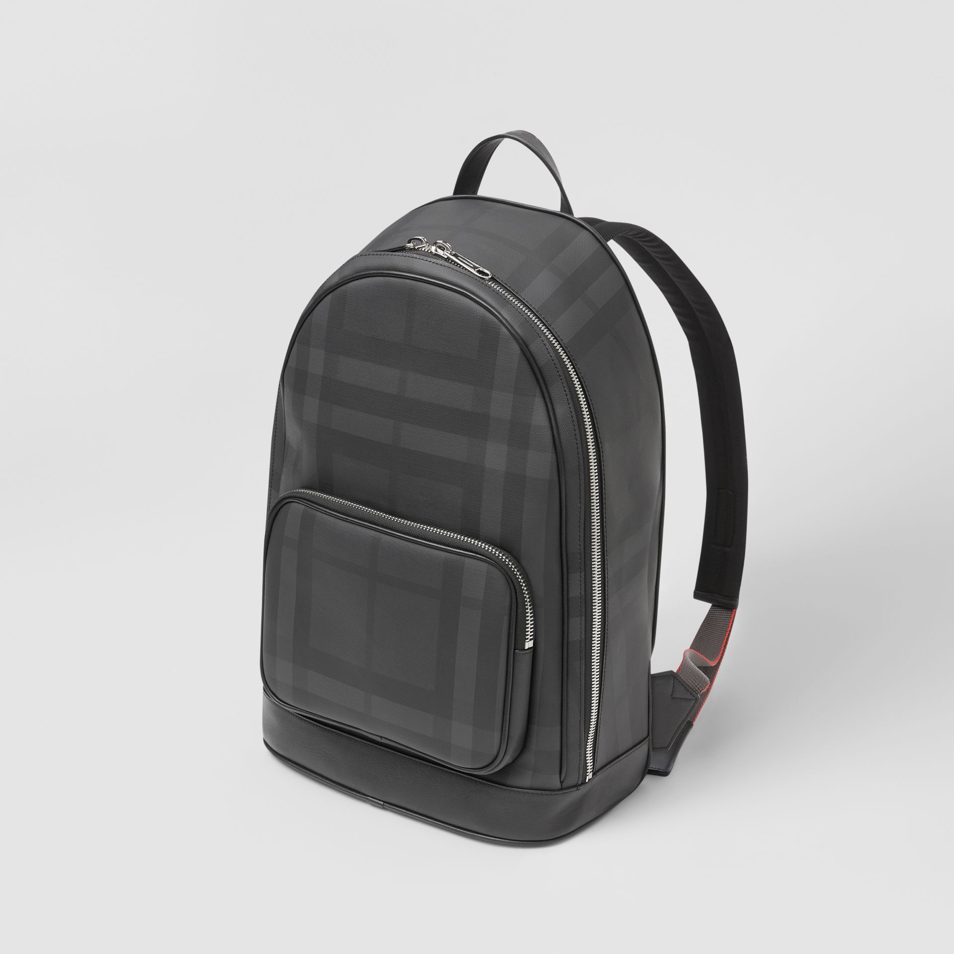 London Check and Leather Backpack in Dark Charcoal - Men | Burberry Hong Kong S.A.R - gallery image 3