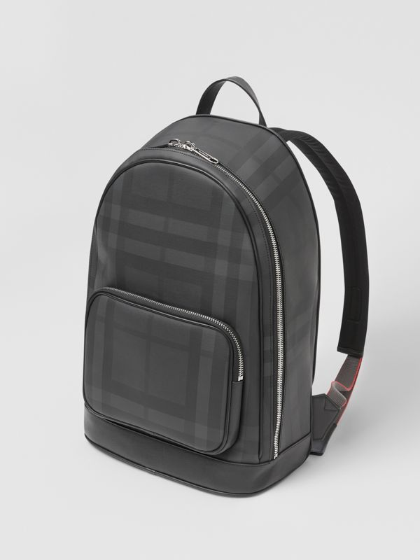 London Check and Leather Backpack in Dark Charcoal - Men | Burberry United States - cell image 3
