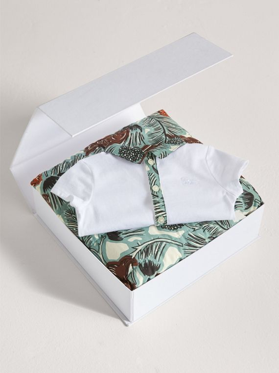 Beasts Print Cotton Two-piece Baby Gift Set in White | Burberry Hong Kong - cell image 3