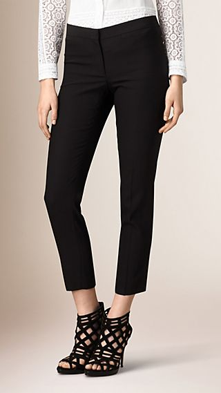 Tapered Wool Silk Trousers