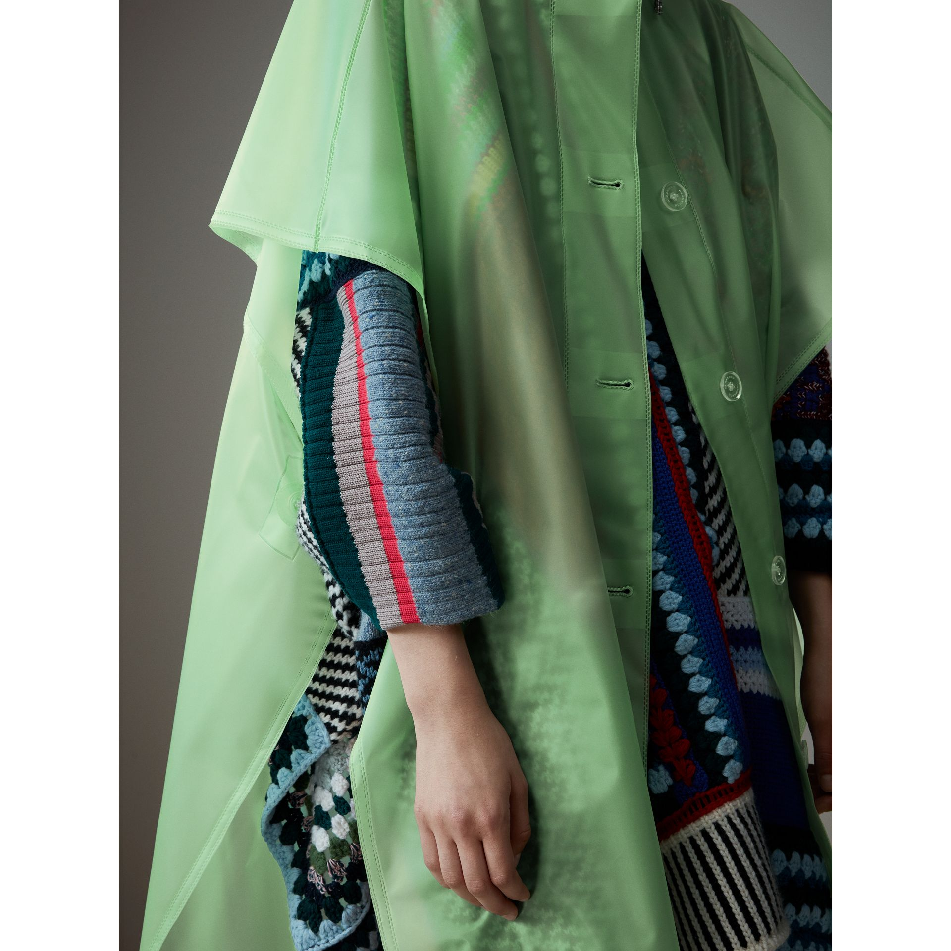 Soft-touch Plastic Poncho in Mint Green - Women | Burberry - gallery image 1