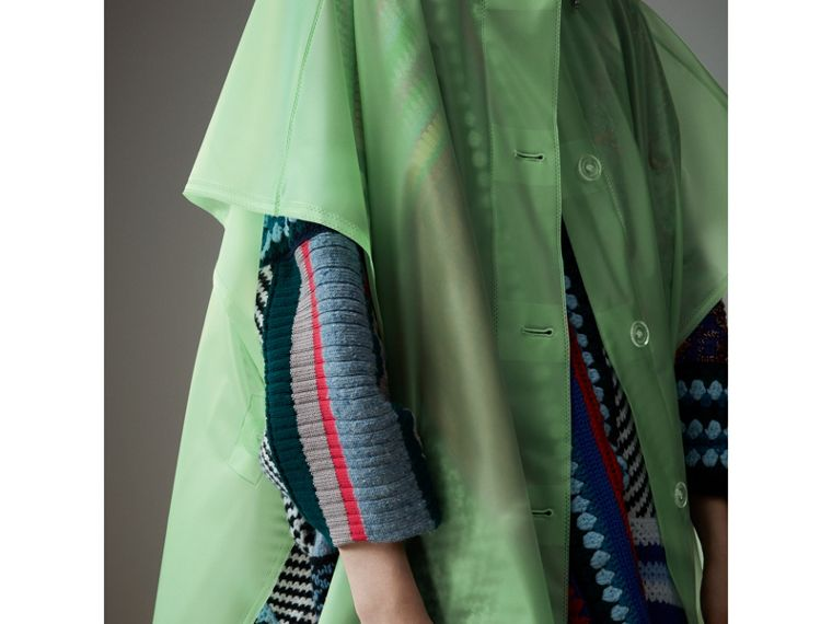 Soft-touch Plastic Poncho in Mint Green - Women | Burberry - cell image 1