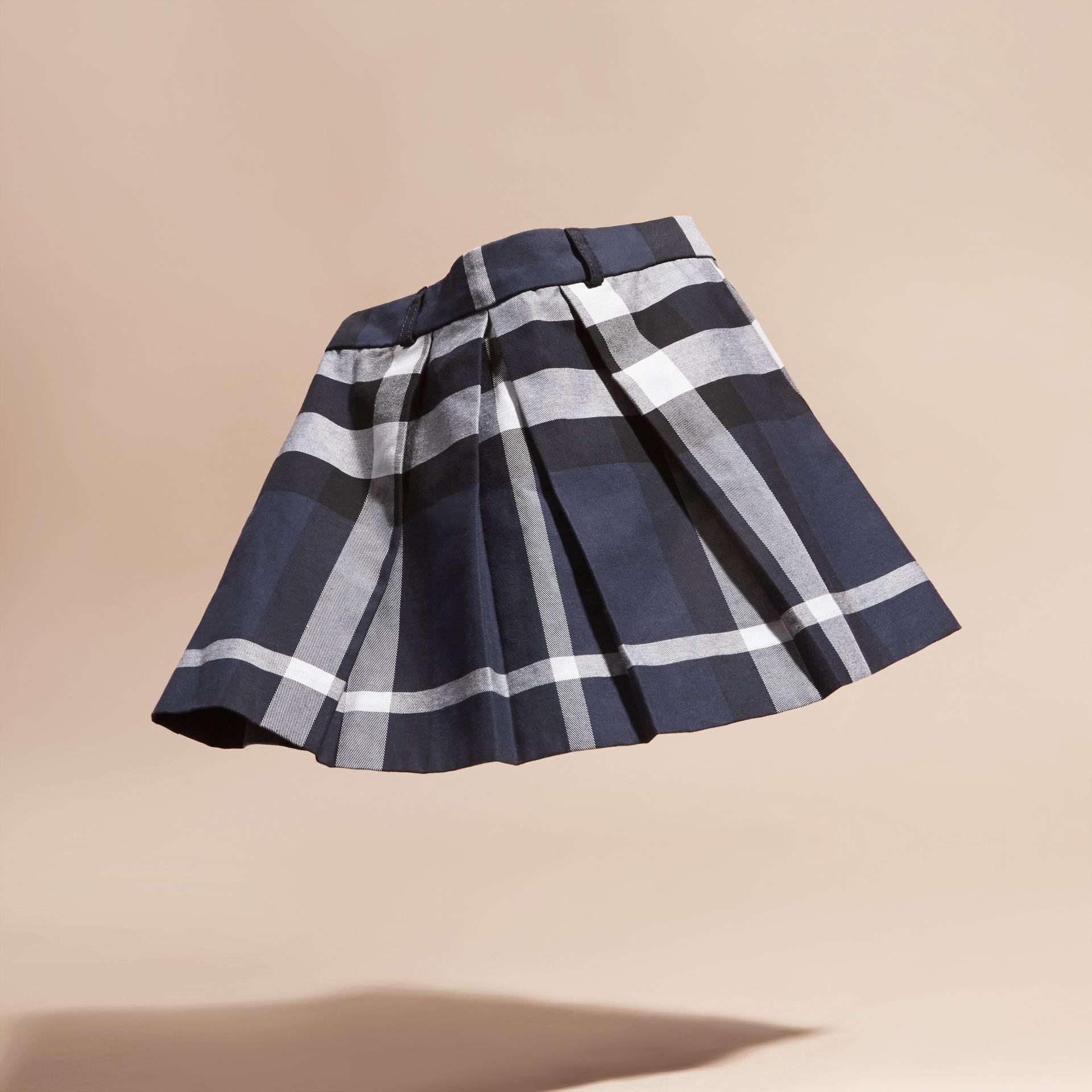 Navy Pleated Check Cotton Skirt Navy - gallery image 3
