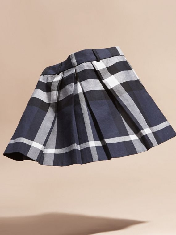 Pleated Check Cotton Skirt Navy - cell image 2