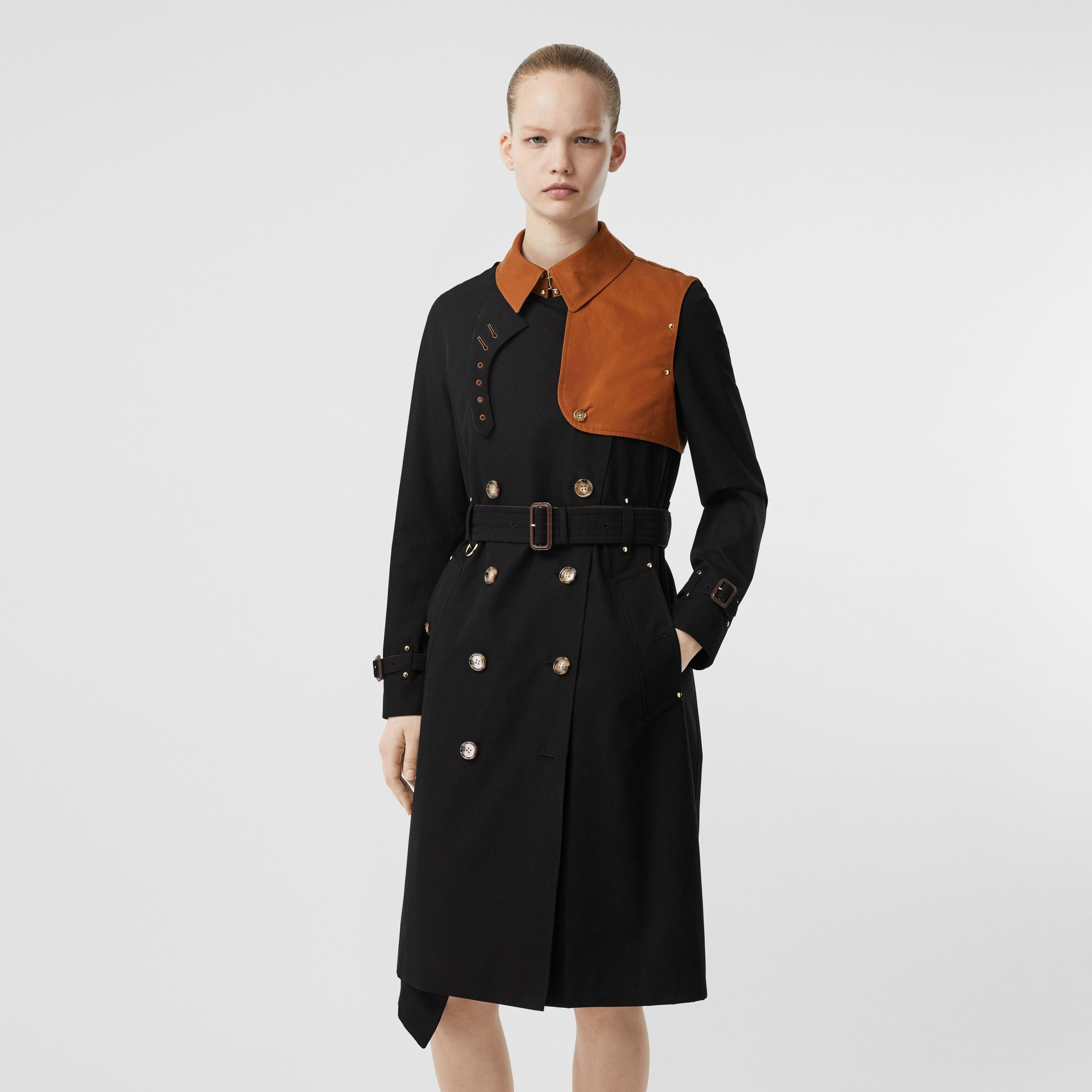 Two-tone Cotton Gabardine Trench Coat in Black - Women | Burberry Australia - gallery image 5