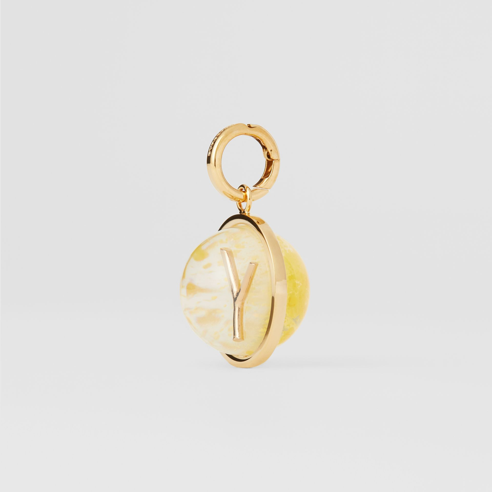 Marbled Resin 'Y' Alphabet Charm in Gold/mimosa - Women | Burberry - gallery image 5