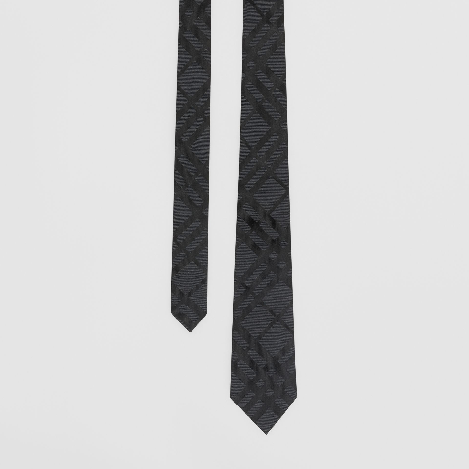 Classic Cut Check Silk Jacquard Tie in Charcoal - Men | Burberry - gallery image 0