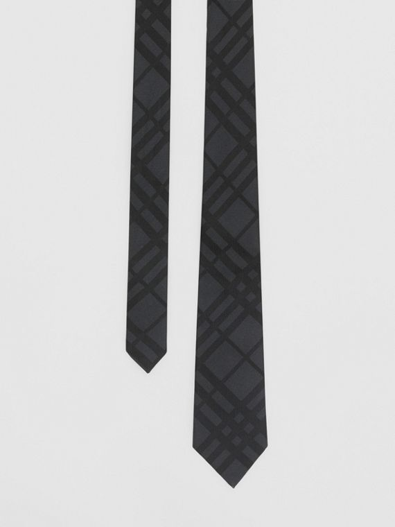 Classic Cut Check Silk Jacquard Tie in Charcoal