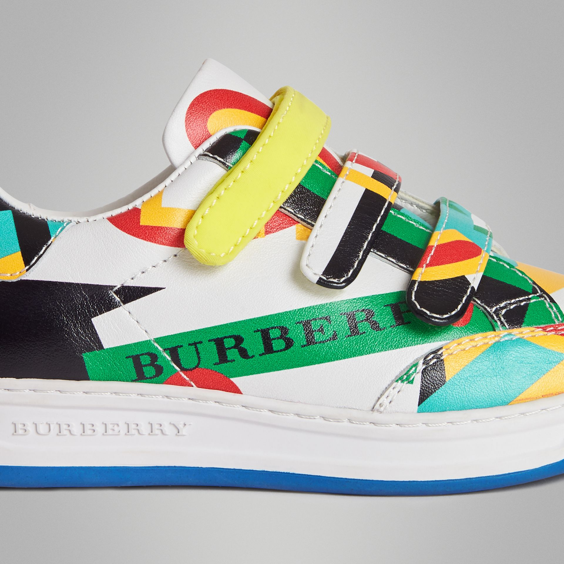 Graphic Print Leather Sneakers in Multicolour | Burberry Australia - gallery image 1