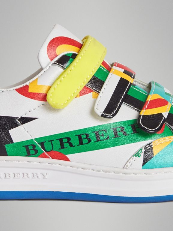 Graphic Print Leather Sneakers in Multicolour | Burberry Australia - cell image 1