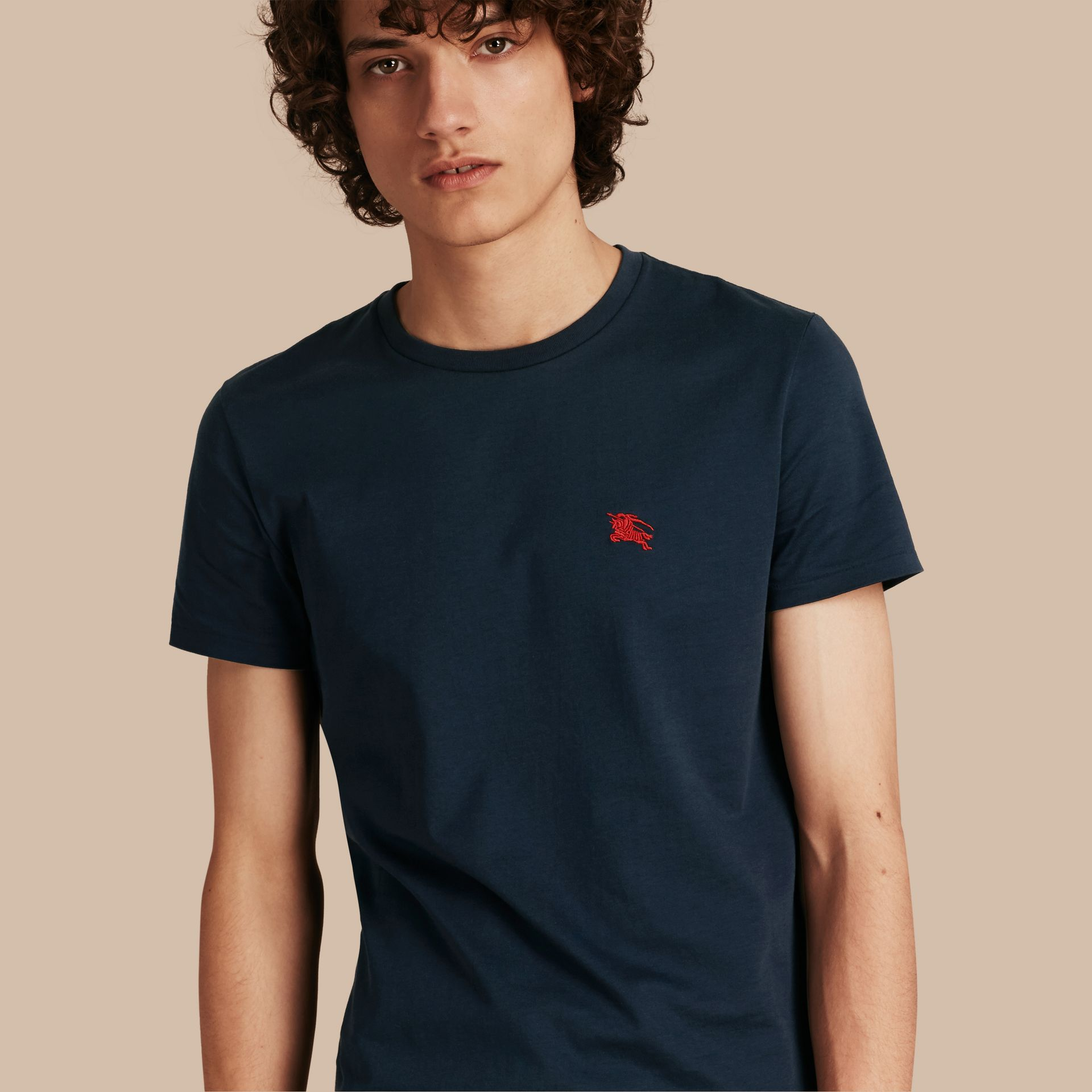 Cotton Jersey T-shirt in Navy - Men | Burberry - gallery image 1