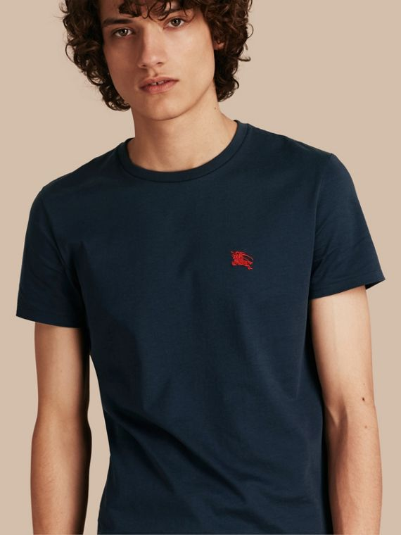Cotton Jersey T-shirt in Navy - Men | Burberry Hong Kong