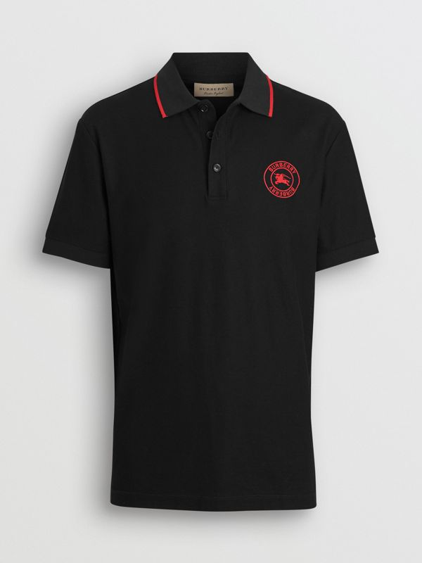 Embroidered Logo Cotton Piqué Polo Shirt in Black - Men | Burberry - cell image 3