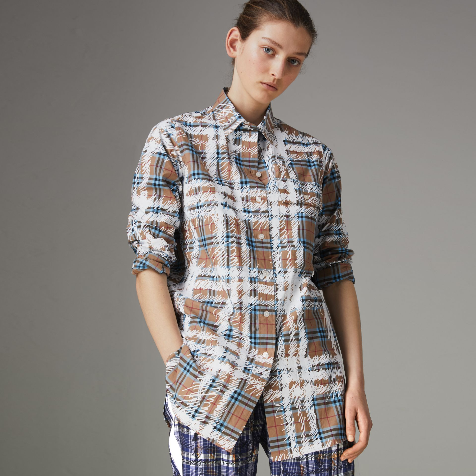 Scribble Check Cotton Stepped-hem Shirt in Bright Mineral Blue - Women | Burberry United Kingdom - gallery image 0