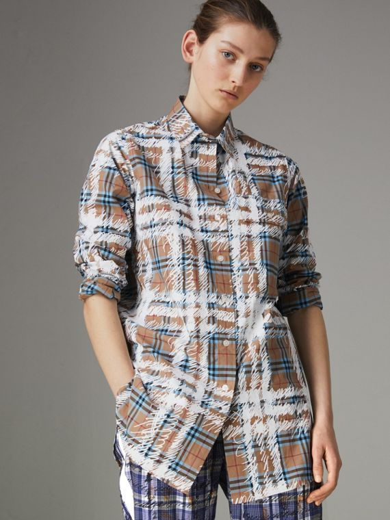 Scribble Check Cotton Stepped-hem Shirt in Bright Mineral Blue