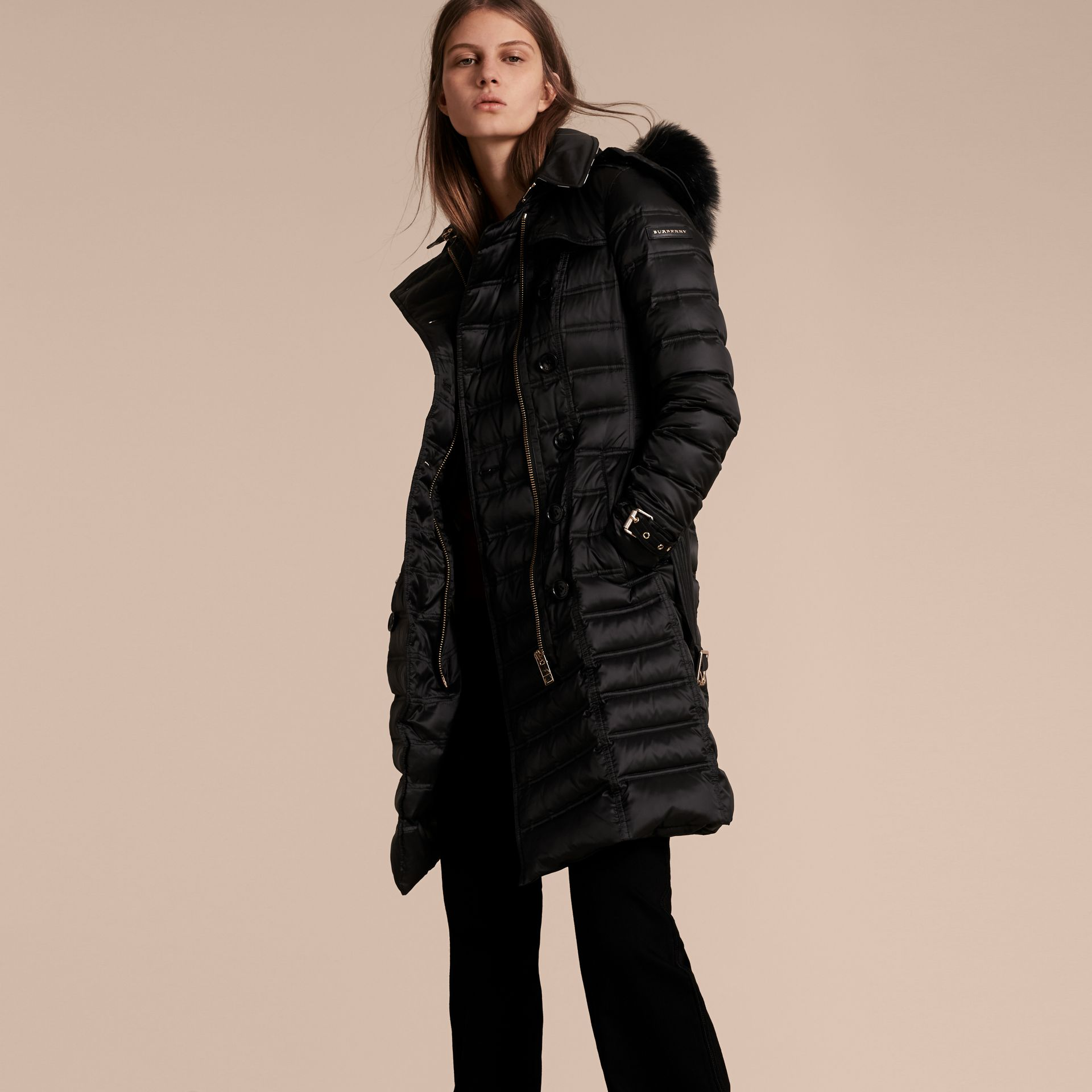 Black Down-Filled Puffer Coat with Fur Trim Black - gallery image 7