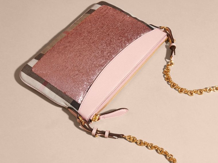 Light pink/ black Leather, Sequin and Check Clutch Bag Light Pink/ Black - cell image 4