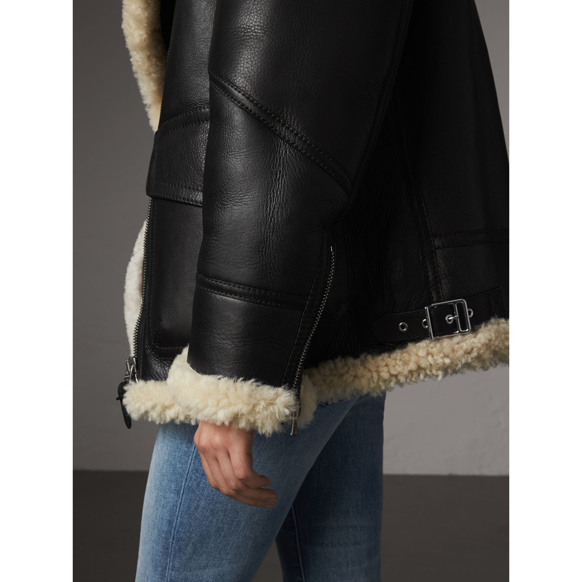 Shearling Aviator Jacket in Black - Women | Burberry - gallery image 5
