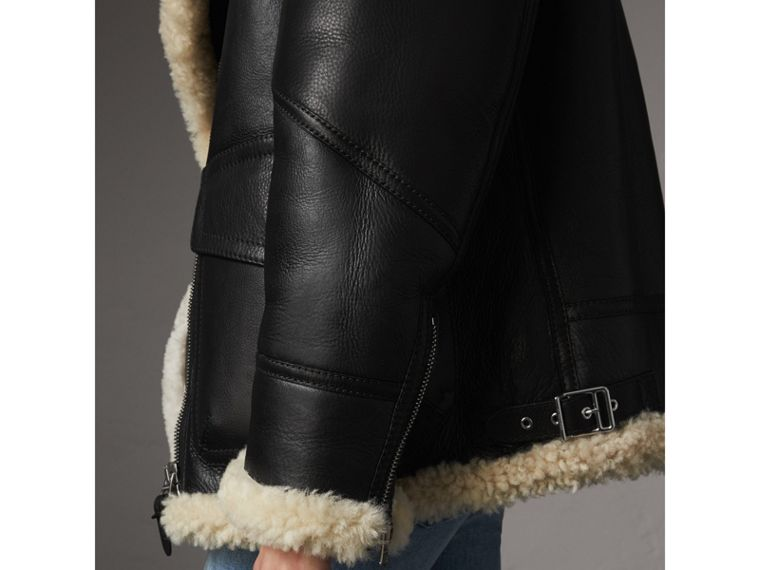 Shearling Aviator Jacket in Black - Women | Burberry - cell image 4