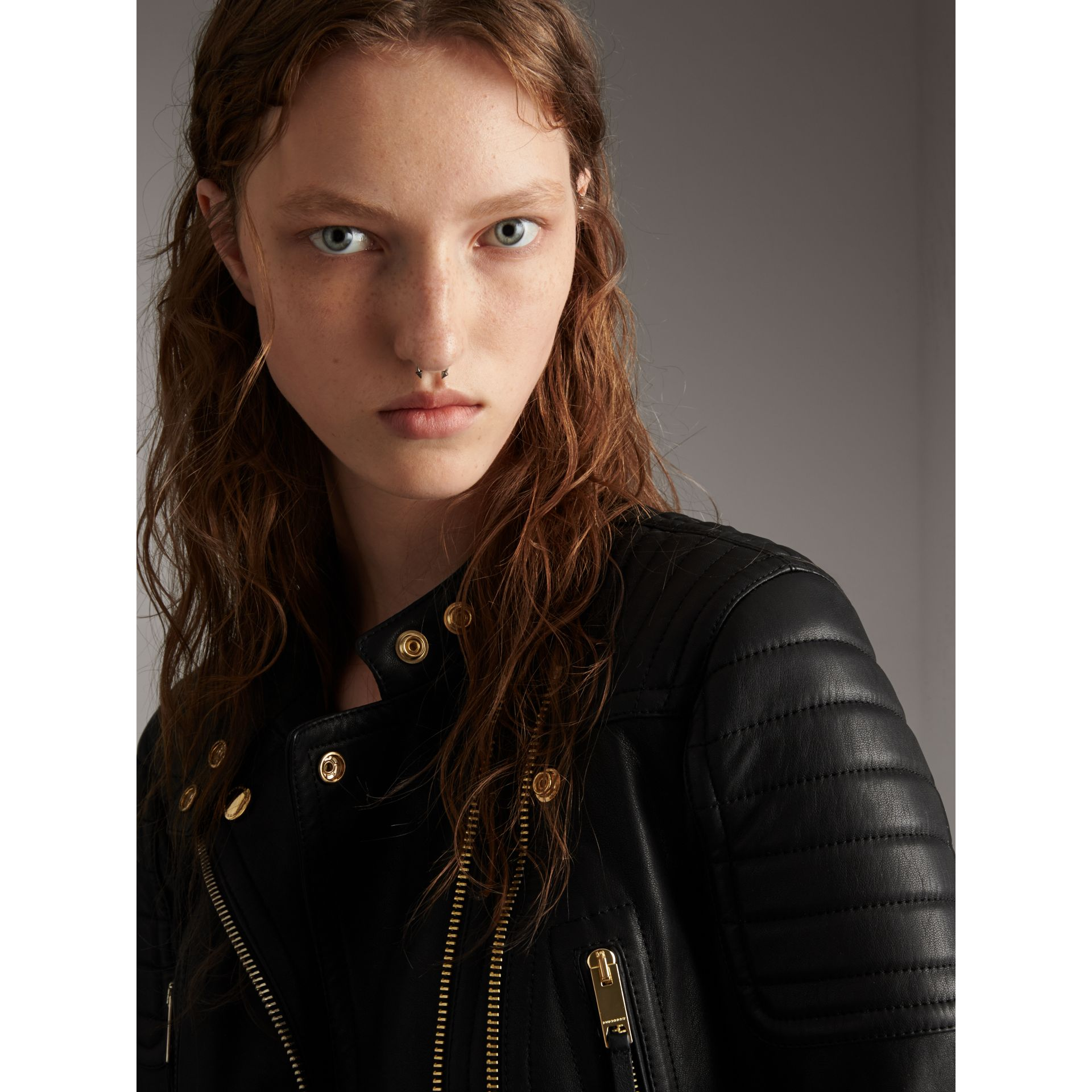 Quilted Panel Lambskin Biker Jacket in Black - Women | Burberry - gallery image 2