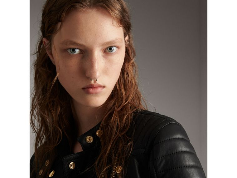 Quilted Panel Lambskin Biker Jacket in Black - Women | Burberry - cell image 1