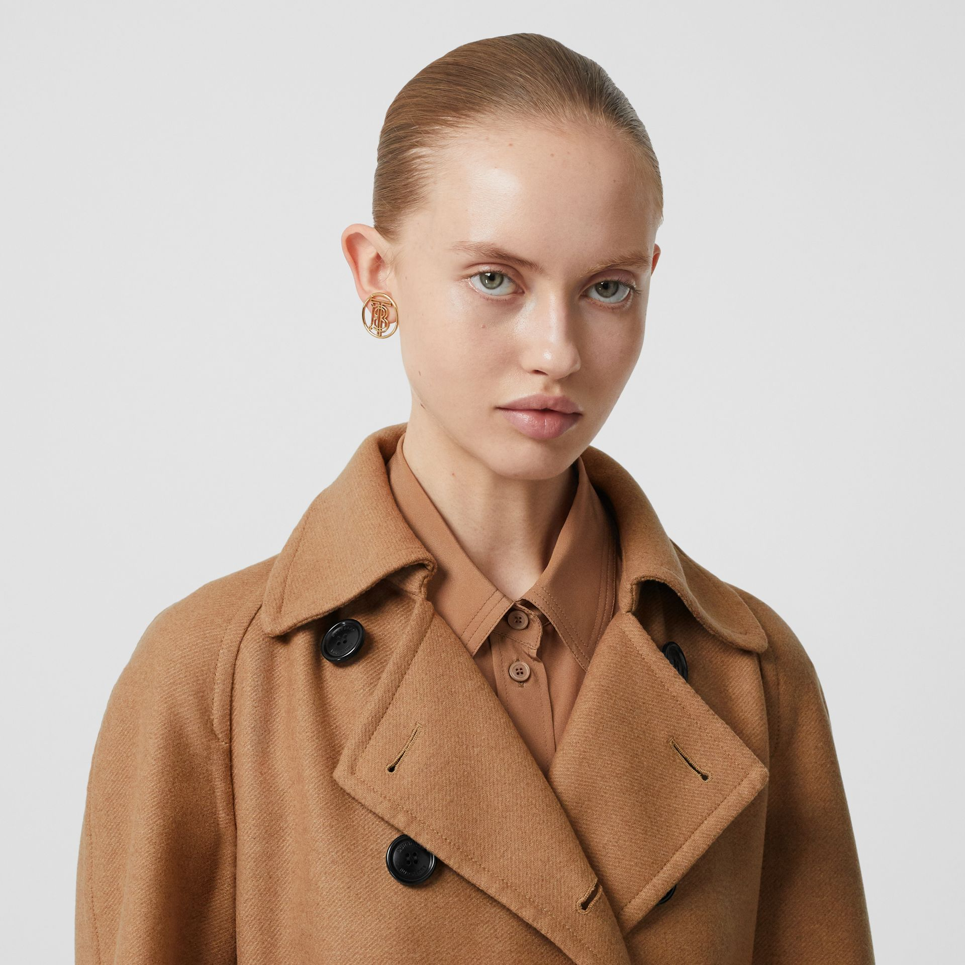 Cashmere Trench Coat in Bronze - Women | Burberry Singapore - gallery image 1