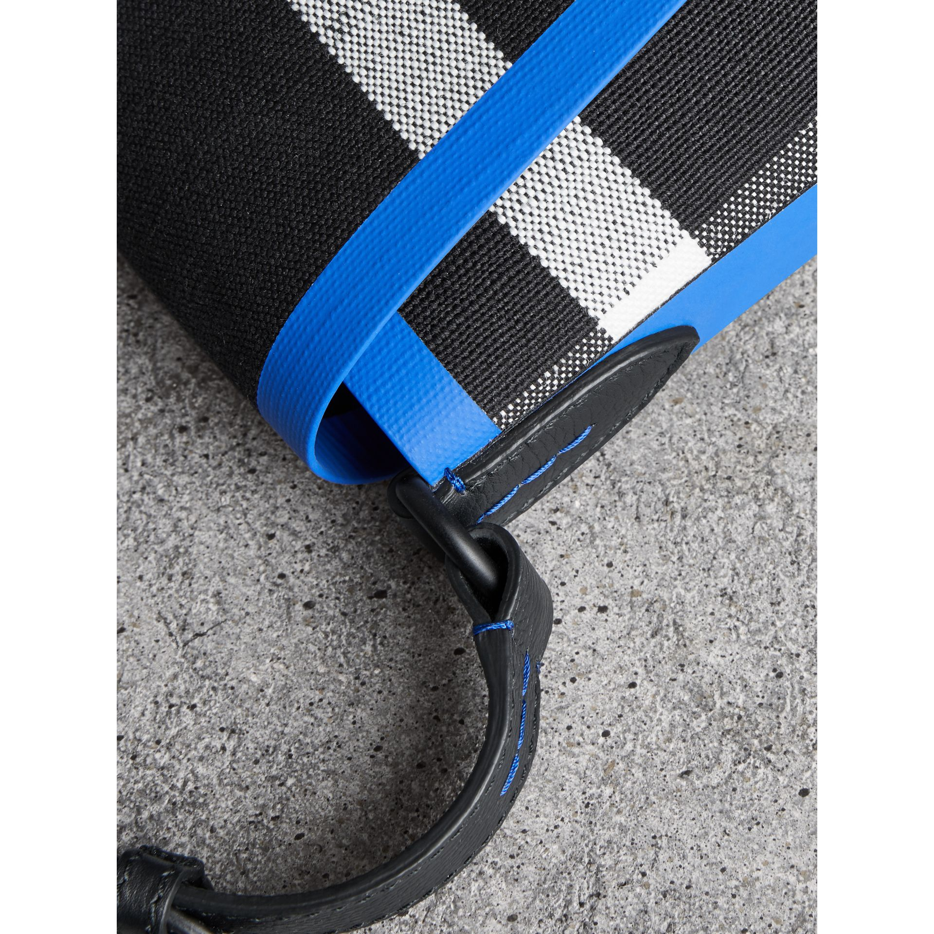 Medium Leather Trim Check Messenger Bag in Blueberry/black | Burberry Singapore - gallery image 1
