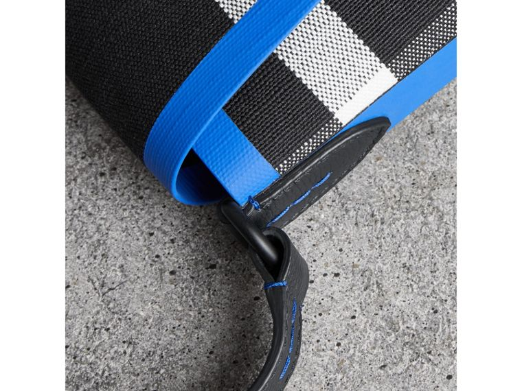 Medium Leather Trim Check Messenger Bag in Blueberry/black | Burberry Singapore - cell image 1