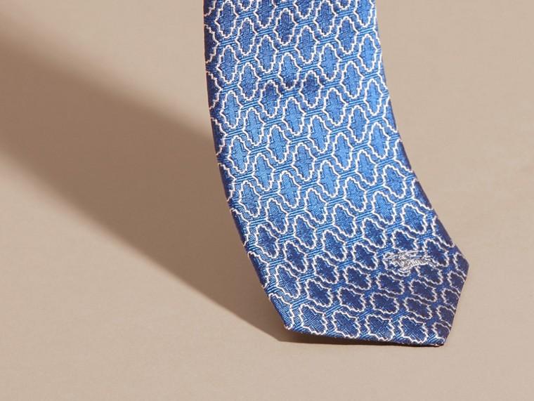 Hydrangea blue Slim Cut Geometric Jacquard Silk Tie Hydrangea Blue - cell image 1