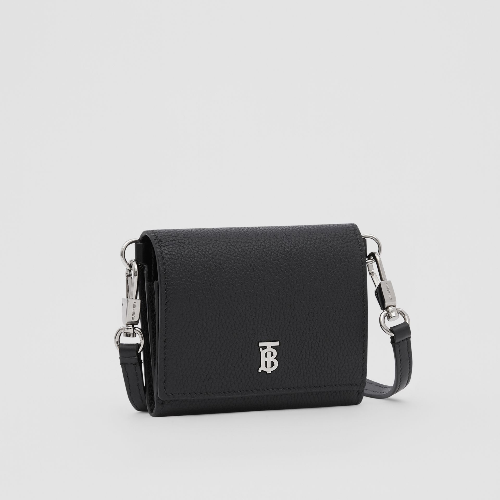 Small Grainy Leather Wallet with Detachable Strap in Black | Burberry United States - gallery image 4