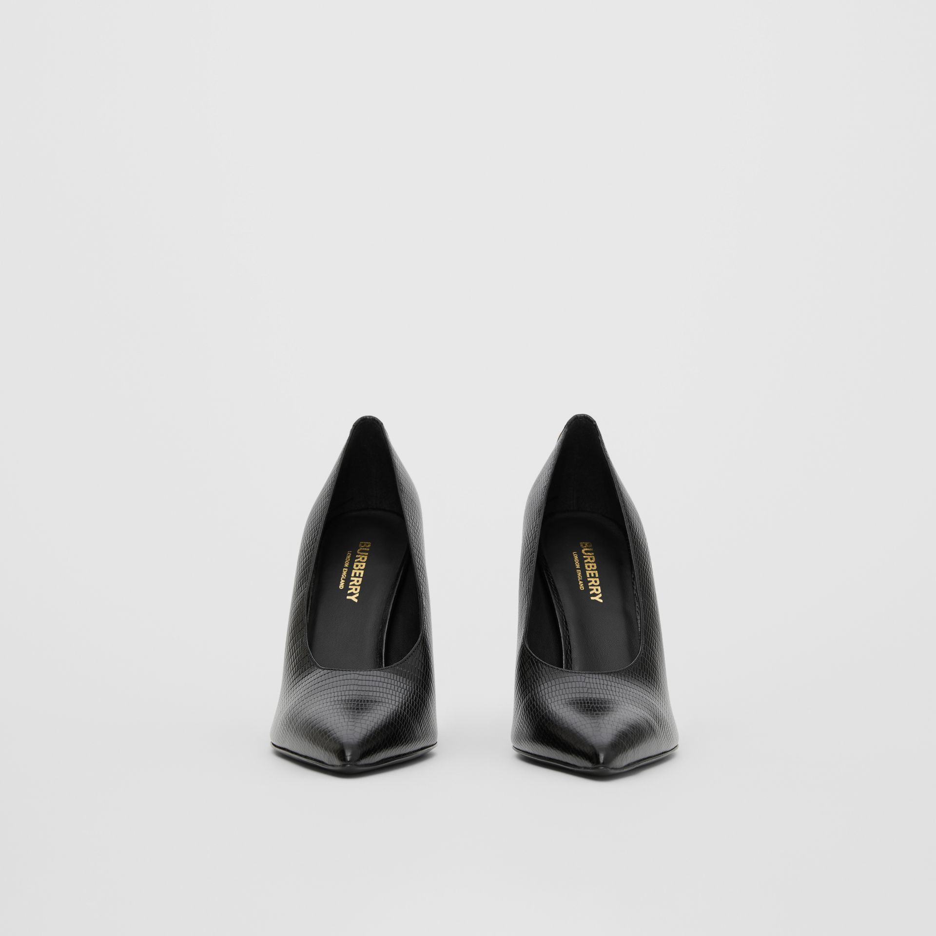 Stud Detail Embossed Leather Point-toe Pumps in Black - Women | Burberry - gallery image 3