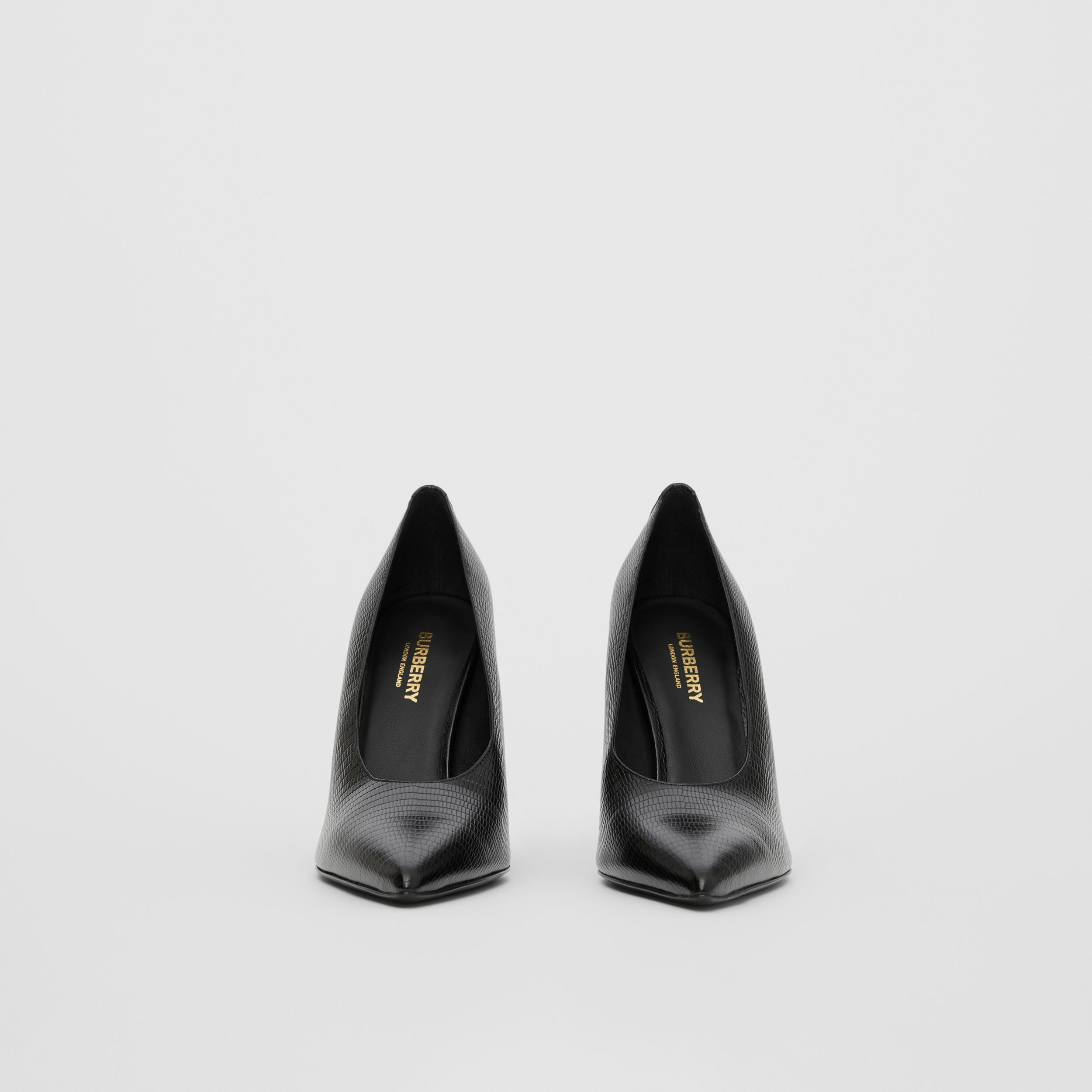 Stud Detail Embossed Leather Point-toe Pumps in Black - Women | Burberry United States - 4