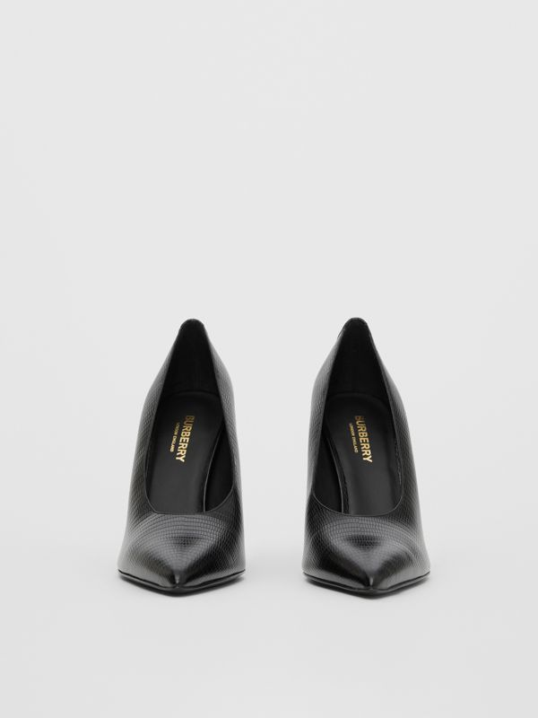 Stud Detail Embossed Leather Point-toe Pumps in Black - Women | Burberry Hong Kong S.A.R - cell image 3