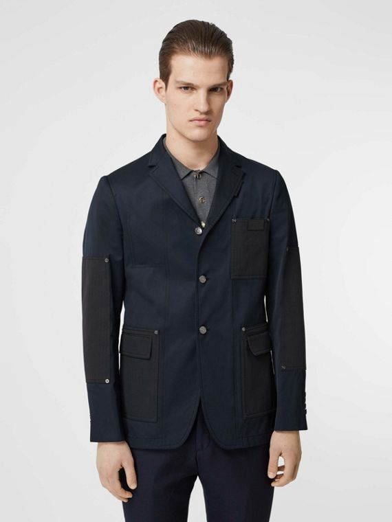 Herringbone Patch Detail Cotton Twill Blend Jacket in Navy