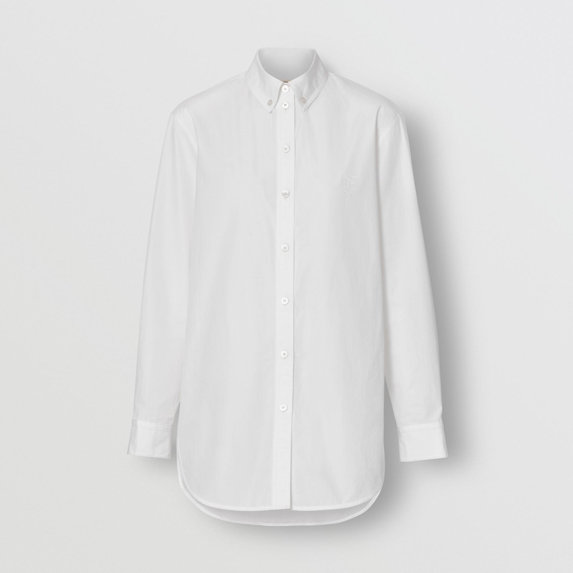 Baumwollbluse mit Button-down-Kragen und Monogrammmotiv (Weiss) - Damen | Burberry - Galerie-Bild 3
