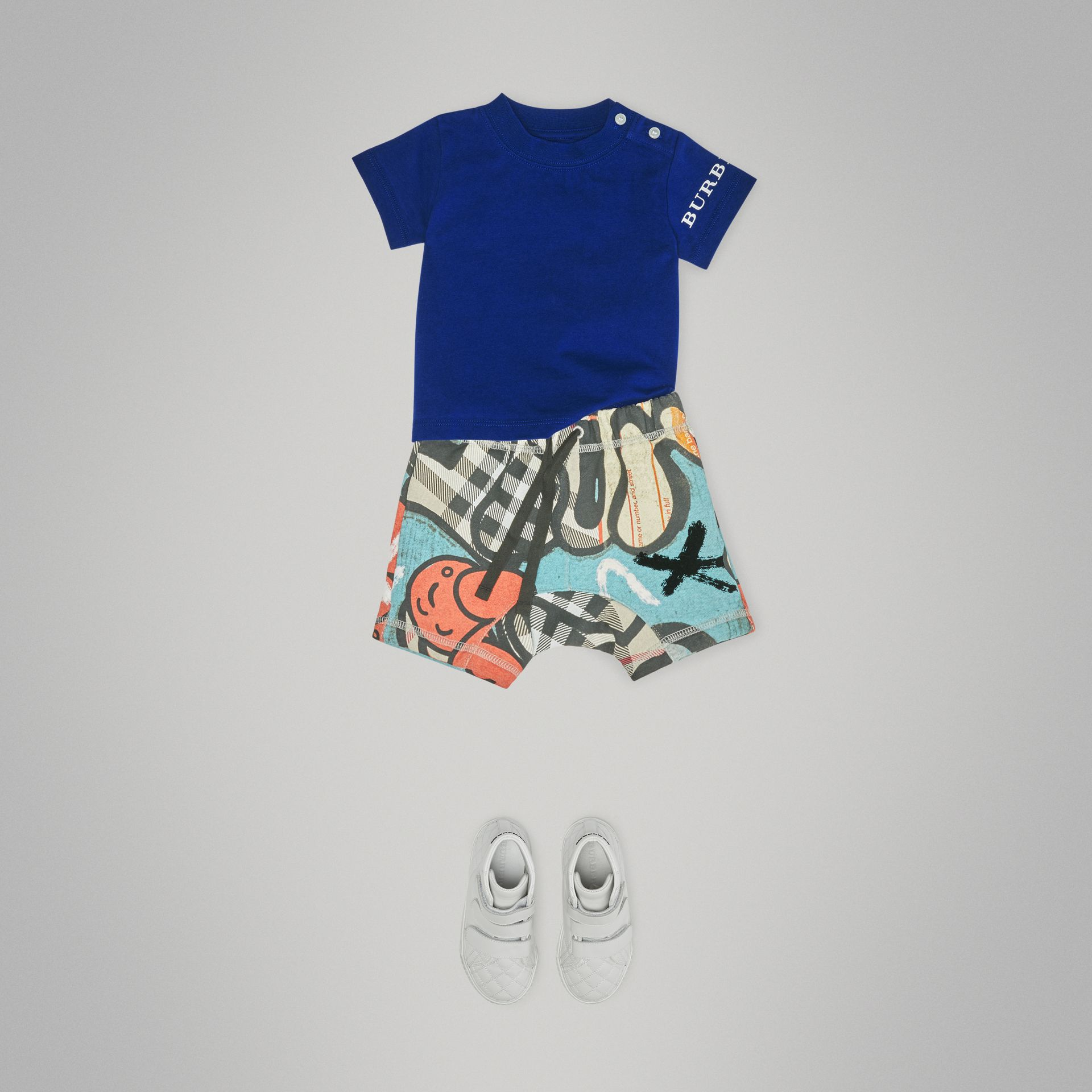 Logo Print Cotton T-shirt in Cobalt Blue - Children | Burberry United Kingdom - gallery image 2