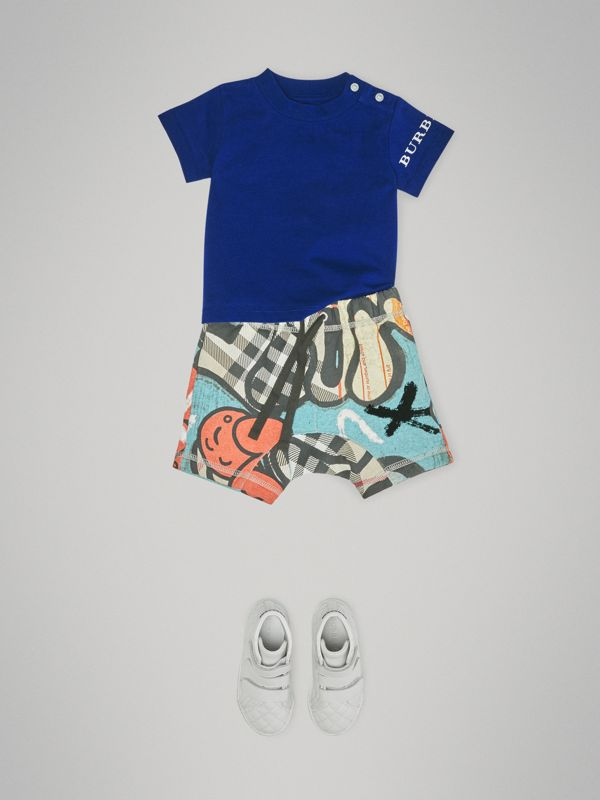 Logo Print Cotton T-shirt in Cobalt Blue - Children | Burberry - cell image 2
