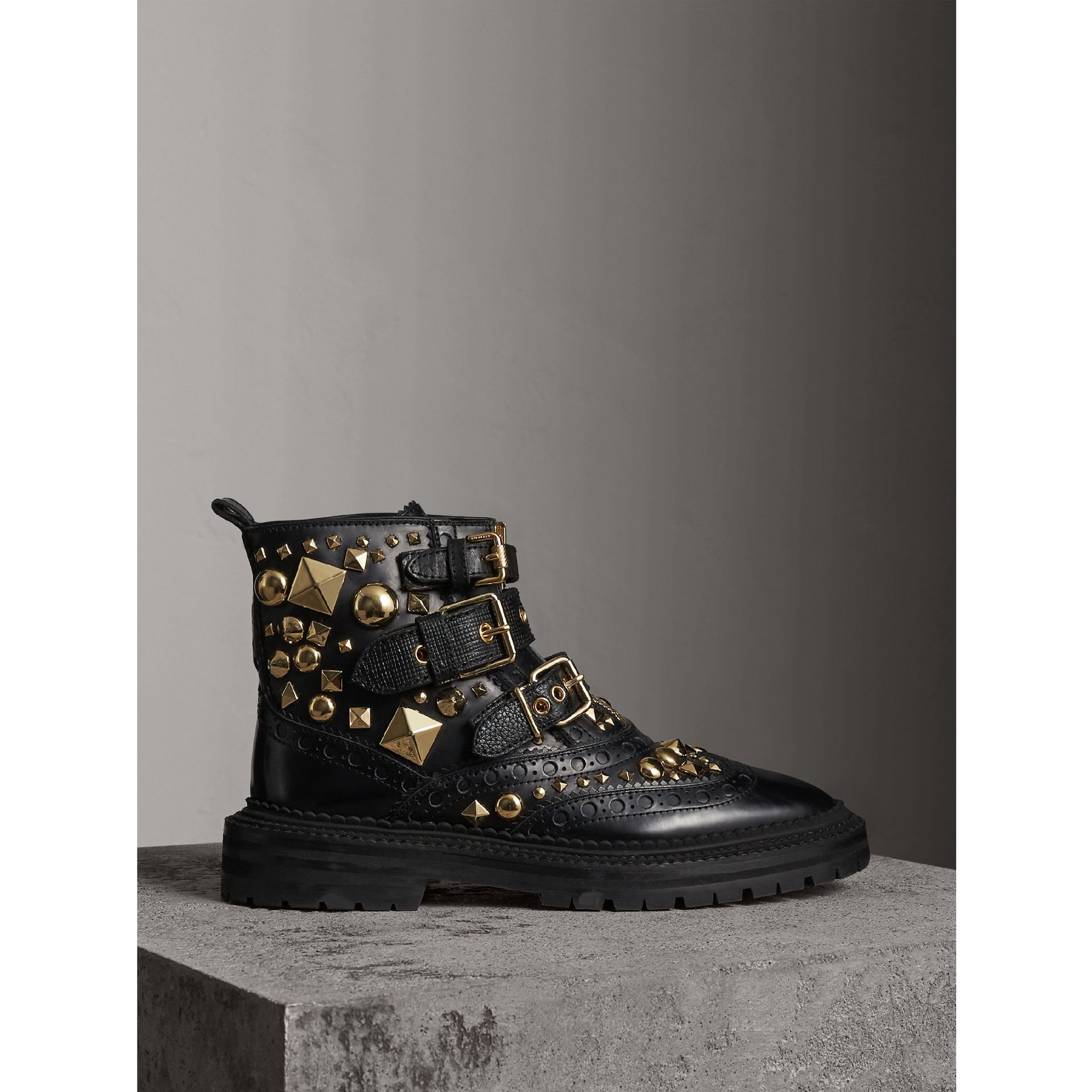 Studded Leather Brogue Ankle Boots in Black - Women | Burberry - gallery image 1