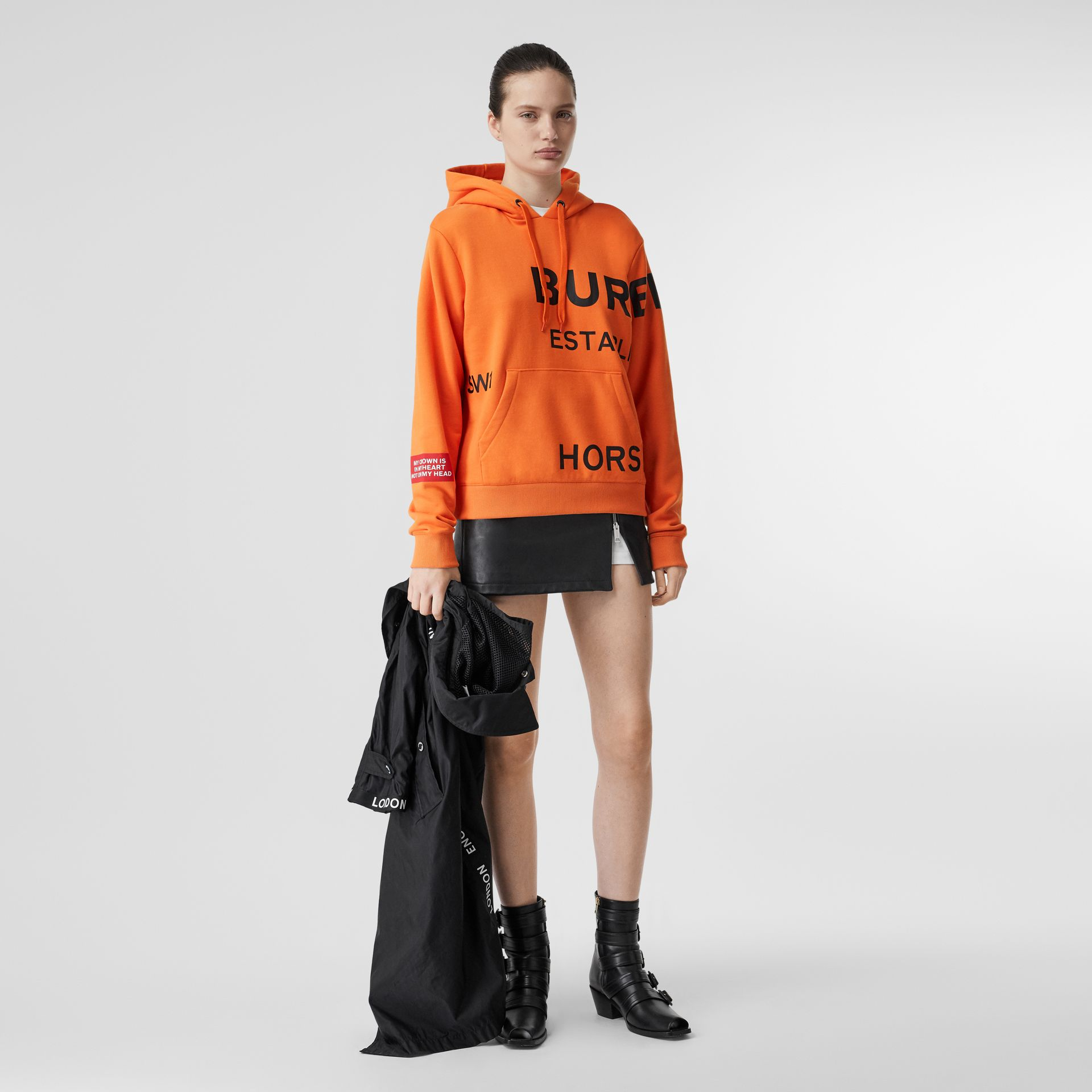 Horseferry Print Cotton Oversized Hoodie in Bright Orange - Women | Burberry - gallery image 0