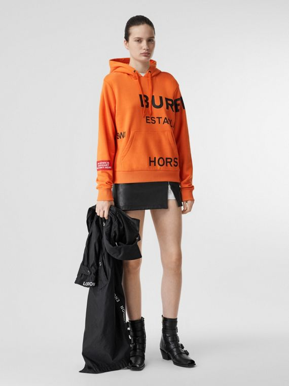 Horseferry Print Cotton Oversized Hoodie in Bright Orange