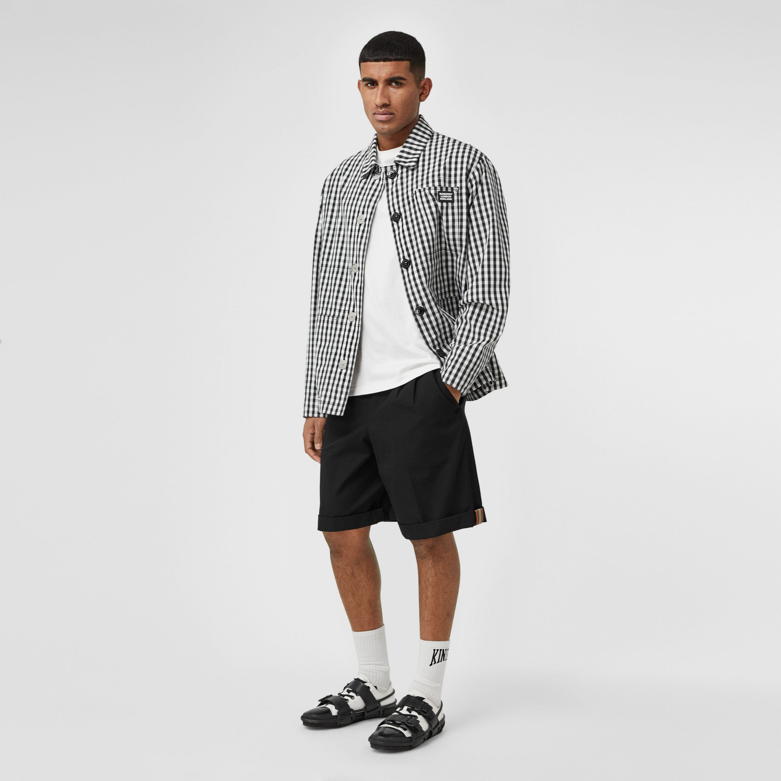 Icon Stripe Detail Cotton Twill Tailored Shorts in Black - Men | Burberry - 1